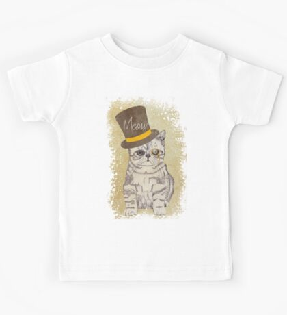 Funny Cute Kitten Cat Sketch Monocle and Top Hat Kids Tee