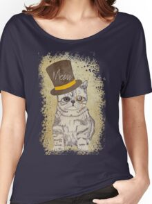 Funny Cute Kitten Cat Sketch Monocle and Top Hat Women's Relaxed Fit T-Shirt
