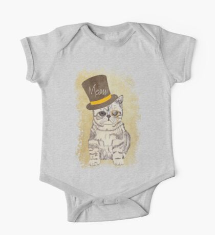 Funny Cute Kitten Cat Sketch Monocle and Top Hat One Piece - Short Sleeve
