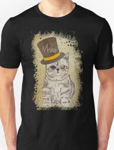Funny Cute Kitten Cat Sketch Monocle and Top Hat T-Shirt