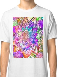 Colorful Vintage Floral Pattern Drawing Watercolor Classic T-Shirt