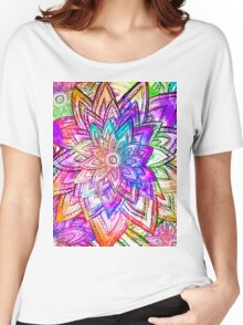 Colorful Vintage Floral Pattern Drawing Watercolor Women's Relaxed Fit T-Shirt