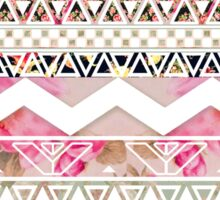 Girly Pink White Floral Abstract Aztec Pattern Sticker