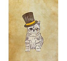 Funny Cute Kitten Cat Sketch Monocle and Top Hat Photographic Print