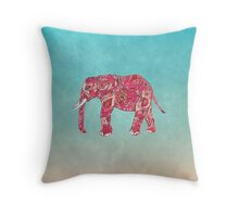 Whimsical Colorful Elephant Tribal Floral Paisley Throw Pillow
