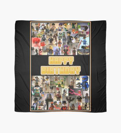 Happy Birthday Greeting Card, Montage of Custom Minifigs Scarf