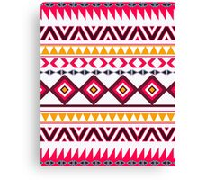Red teal Aztec Tribal Diamond geometric Pattern Canvas Print