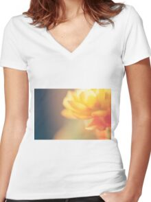 Chinese Rose Women's Fitted V-Neck T-Shirt