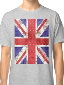 Vintage Red Polka Dots Floral UK Union Jack Flag Classic T-Shirt