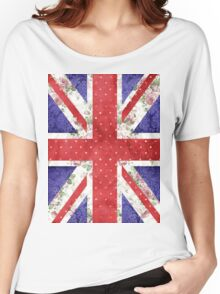 Vintage Red Polka Dots Floral UK Union Jack Flag Women's Relaxed Fit T-Shirt