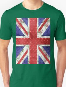 Vintage Red Polka Dots Floral UK Union Jack Flag Unisex T-Shirt