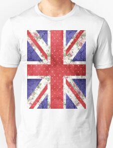 Vintage Red Polka Dots Floral UK Union Jack Flag Unisex T-Shirt