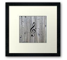 Vintage black music note Treble Clef gray wood Framed Print