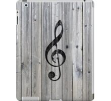 Vintage black music note Treble Clef gray wood iPad Case/Skin