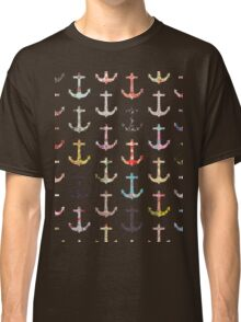 Vintage retro sailor girly floral nautical anchors Classic T-Shirt