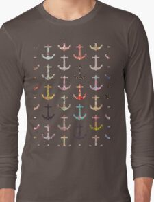 Vintage retro sailor girly floral nautical anchors Long Sleeve T-Shirt