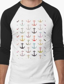 Vintage retro sailor girly floral nautical anchors Men's Baseball ¾ T-Shirt