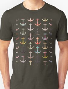 Vintage retro sailor girly floral nautical anchors Unisex T-Shirt