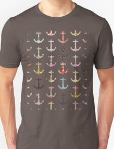 Vintage retro sailor girly floral nautical anchors T-Shirt