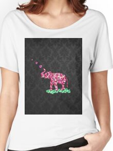 Retro Flower Elephant Pink Sakura Black Damask Women's Relaxed Fit T-Shirt