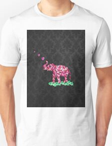 Retro Flower Elephant Pink Sakura Black Damask T-Shirt