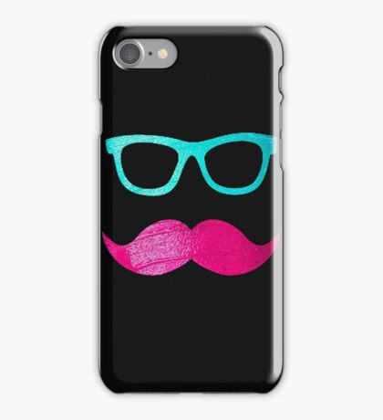 Funny Pink mustache teal hipster glasses Black  iPhone Case/Skin