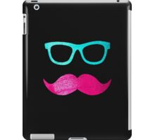 Funny Pink mustache teal hipster glasses Black  iPad Case/Skin