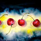 Cherries...The Line-Up by  Janis Zroback