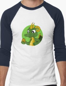 Cute green dragon cartoon Men's Baseball ¾ T-Shirt