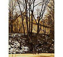 Old Barn Thru the Trees Photographic Print