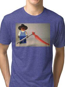 Halloween Scarecrow with Scythe, Custom Minifig Tri-blend T-Shirt