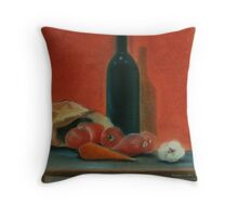 Onions, carrot,  garlic and a bottle of Wine...  Throw Pillow