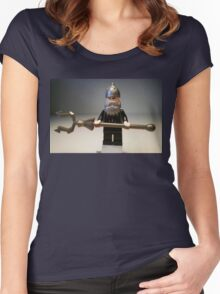 Mongolian Chinese Warrior Chief Custom Minifig Women's Fitted Scoop T-Shirt