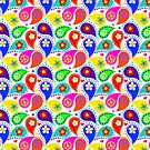 Bright Colors Paisley Peace Signs by Cherie Balowski