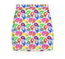 Bright Colors Paisley Peace Signs Mini Skirt