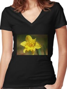 Yellow Daffodil Women's Fitted V-Neck T-Shirt