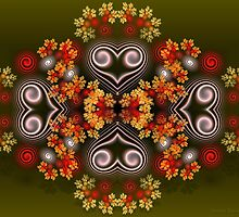 Spiral Hearts and Flowers by Sandra Bauser Digital Art