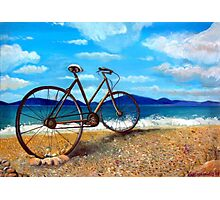 Old Bike at the beach Photographic Print