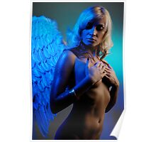 Young woman with angel wings Poster