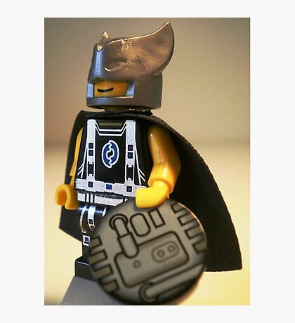 Captain Vortex in Black & Silver Costume and Cape Photographic Print
