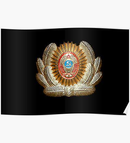 Soviet Red Army Officer Uniform Cap Badge Poster