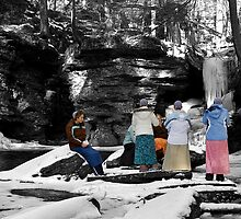 Mennonite Girls at Adams Falls by Mark Van Scyoc