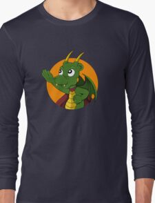 Cute green dragon superhero cartoon Long Sleeve T-Shirt