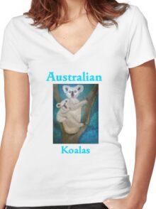 Australian Koalas Women's Fitted V-Neck T-Shirt