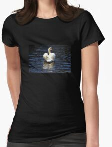 Mute Swan Swimming Womens Fitted T-Shirt