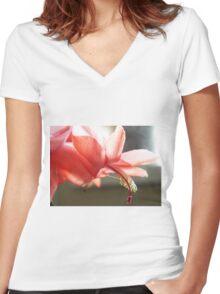 Christmas Cactus Flower Women's Fitted V-Neck T-Shirt