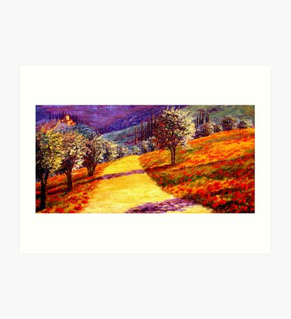 Road Through the Olive Grove Hill Art Print