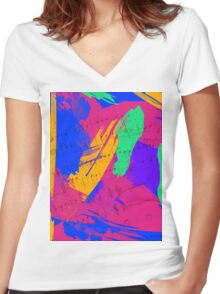 Wild Paint Brush Colors and Music Sheets Women's Fitted V-Neck T-Shirt