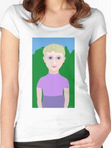 Happy Little Boy Women's Fitted Scoop T-Shirt