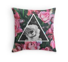 Color vs. black n white flowers  Throw Pillow